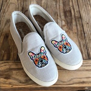 Soludos Frenchie Dog Canvas Slip On Sneakers